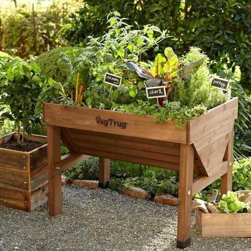Một chiếc kệ trồng rau bằng gỗ dành cho những ai muốn trồng những loại rau nhỏ với số lượng ít.