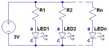 Ligação de LEDs em paralelo
