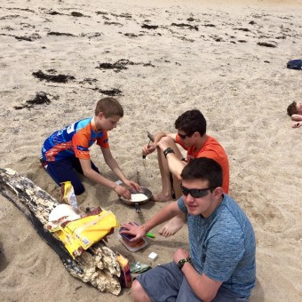 Cooking tortillas on the beach