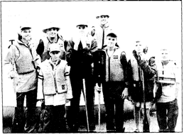 Bronxville Boy Scout Troop 5 preparing for canoe trip during their trek in the Quetico wilderness of central Canada. From left, Cal Chrisman, Gary Giangoia, Gary Giangola Jr., Alex Chrisman, Ray Pfeister, Luke Patterson, Joe Pfeister and John Pfeister,