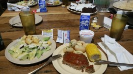Monday Night Supper - Chopped Steak, New Potatoes, Corn on the Cob, Salad, Ice Cream and Chocolate Cake