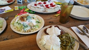 Tuesday Supper: Country Fried Steak, Whipped Potatoes, Green Beans, Salad, and Cherry Cake