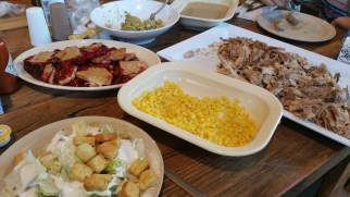 Fantastic Spread - Turkey, Dressing, Gravy, Corn, Salad, Cherry Cobbler