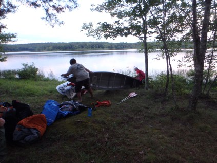 Tuesday Canoe Overnight - Arriving and Racking Canoes