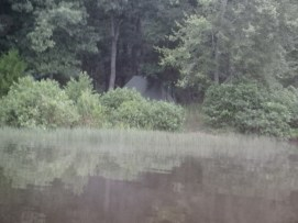 Return From Tuesday Canoe Overnight - Veiw of Camp with Fog on Lake
