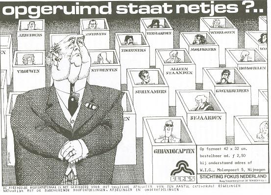 Tekening van ambtenaar die mensen in hokjes heeft kunnen plaatsen 1976