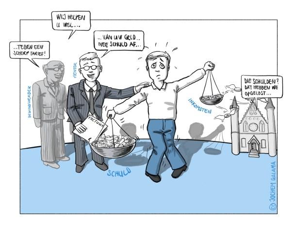 tekening hoe de overheid mensen met schulden nog verder uitkleed.