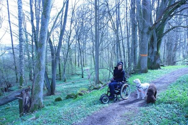 sandra in bos met haar honden