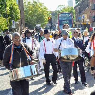 Steel band parading