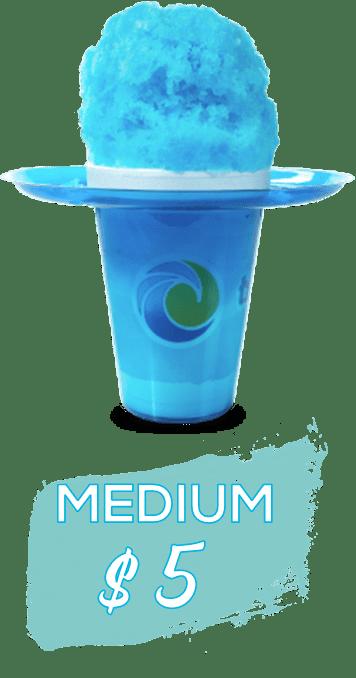 medium sno, in blue flower cup, bright blue shaved ice, says medium $5