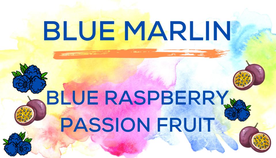 Shaved Ice Flavors-Tropical Sno Peoria-BLUE MARLIN- tart blue raspberry, exotic passion fruit