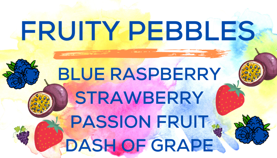 Shaved Ice Flavors-Tropical Sno Peoria-Fruity Pebbles - tart blue raspberry, summery strawberry, exotic passion fruit, a dash of grape