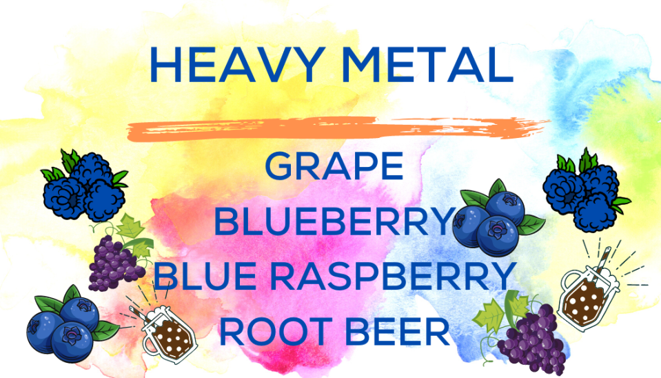 Shaved Ice Flavors-Tropical Sno Peoria-Heavy Metal- juicy grape, fresh blueberry, tart blue raspberry, sizzly root beer