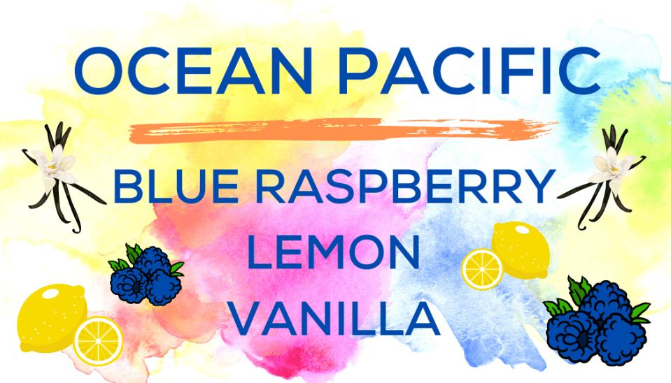 Shaved Ice Flavors-Tropical Sno Peoria- OCEAN PACIFIC- tart blue raspberry, tart lemon, creamy vanilla