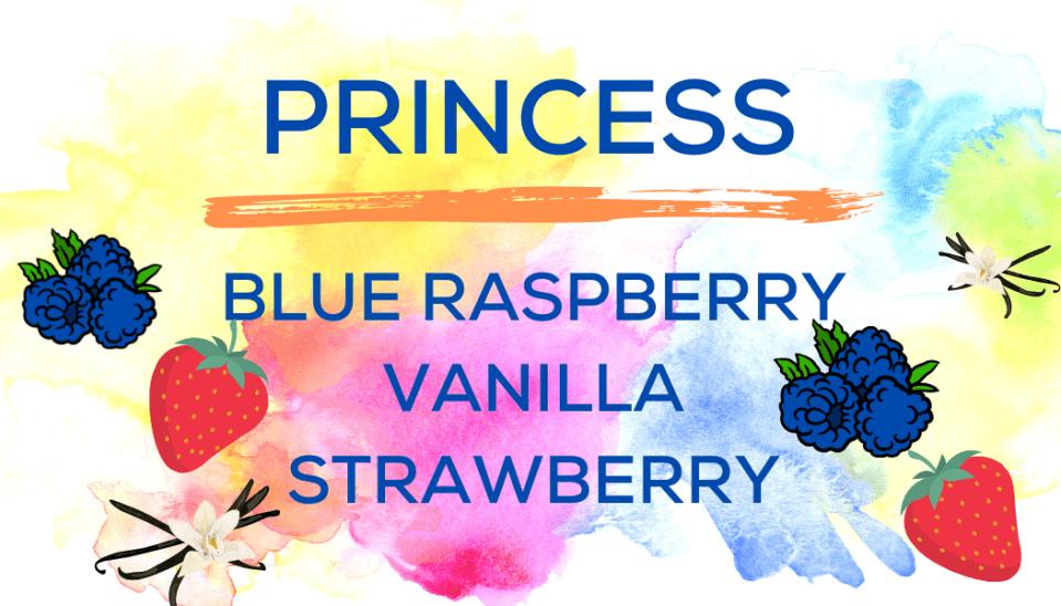 Shaved Ice Flavors-Tropical Sno Peoria-PRINCESS- tart blue raspberry, creamy vanilla, summery strawberry