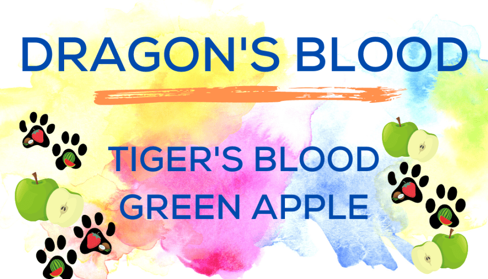Shaved Ice Flavors-Tropical Sno Peoria-DRAGON'S BLOOD- tiger's blood, green apple