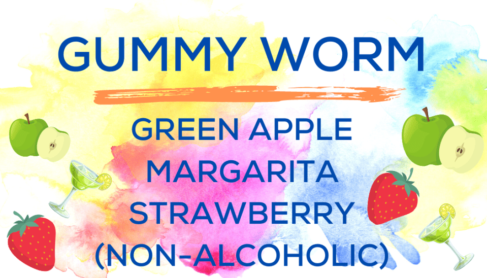 Shaved Ice Flavors-Tropical Sno Peoria-GUMMY WORM- bright green apple, non- alcoholic margarita, summery strawberry