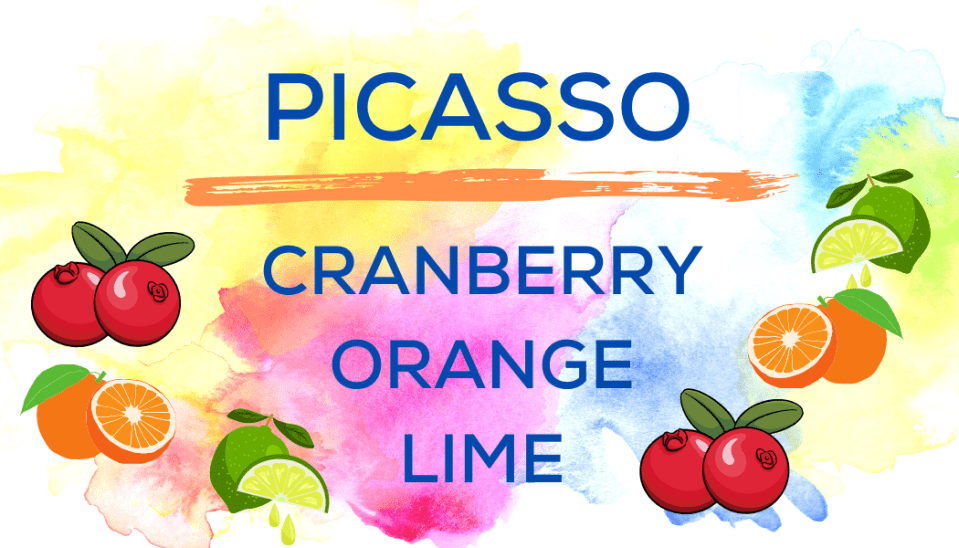 Shaved Ice Flavors-Tropical Sno Peoria- PICASSO- tart cranberry, juicy orange, fresh lime
