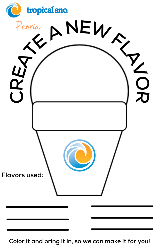 COLORING PAGE- BLANK SNO CONE WITH LINES TO ADD FLAVORS TO USE IN MIX