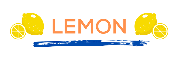 The word lemon in orange over a blue paint line with lemons on either side. This page displays flavor combinations made with Tropical Sno Peoria's tart lemon flavor.
