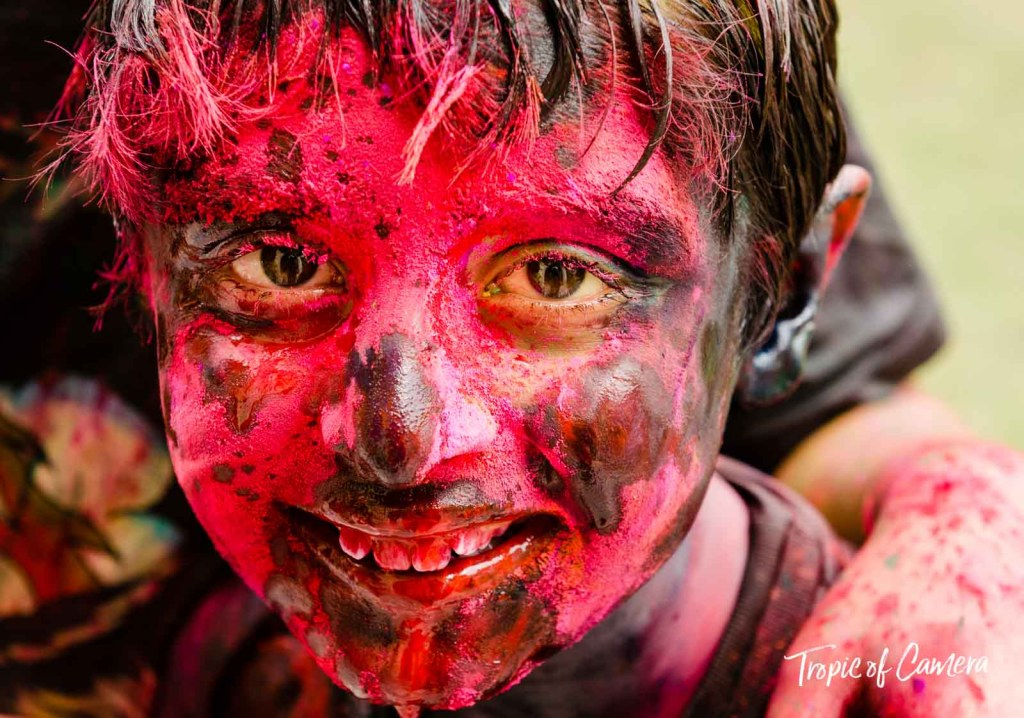 Young boy celebrating the Holi Festival in Jaipur