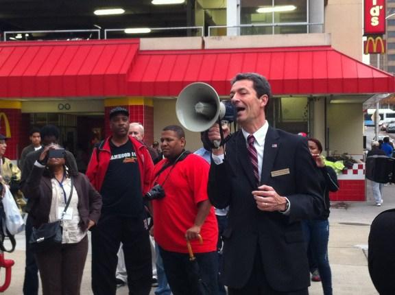 Dr. Rad speaking at a rally for expanding Medicaid in Georgia, Grady Hospital, Atlanta, GA