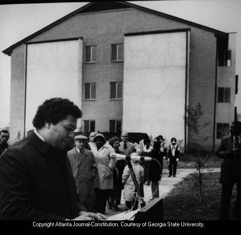 Jackson at the opening of the Pittsburgh Civic League Apts, 1974
