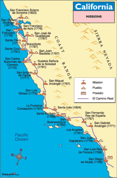 Map of the California Historic Mission Trail [10]