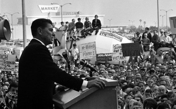 Ronald Reagan speaking to crowd during gubernatorial campaign stop in Lakewood, Calif., 1966. Photo by Ray Graham, courtesy of the Los Angeles Times Photographic Archive, UCLA Library.