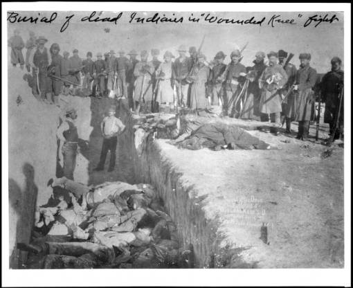 burial of indians at wounded knee massacre