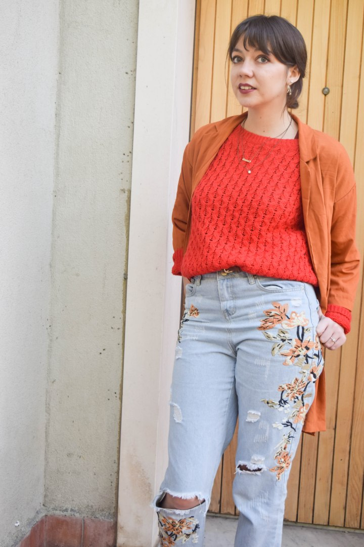 Red sweater and embroideries