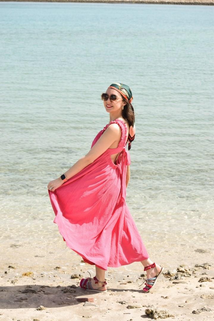 A pink oversize dress