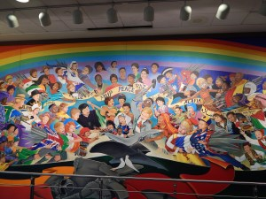 The extremely freaky mural at Denver International Airport near the baggage claim... ONE WORLD ORDER FREAKY!