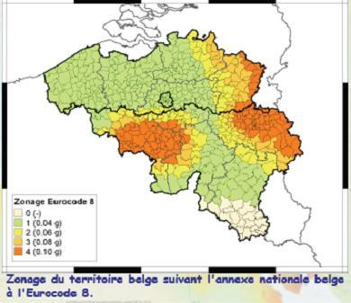 Figure n° : Zonage sismique de la Belgique selon la norme Eurocode-8 (Source: Observatoire royal de Belgique).