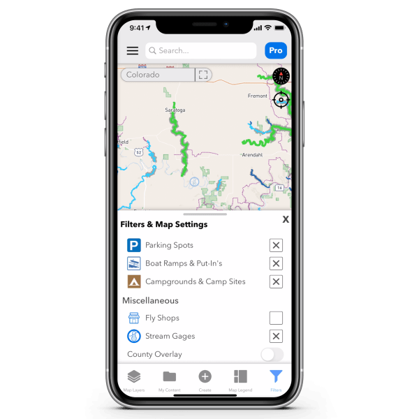Filters and Map Settings TroutRoutes Pro Annual Subscription