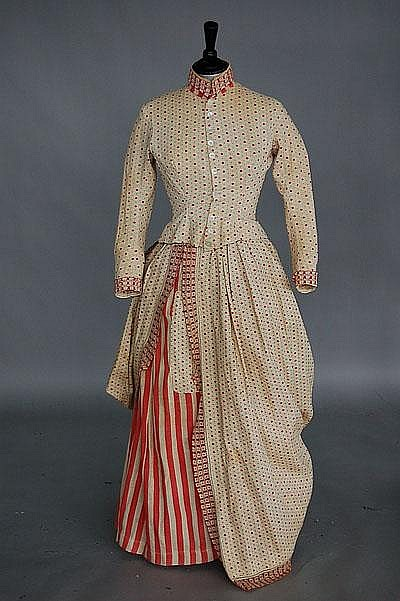 Dress 1876 calico printed cotton Kerry Taylor