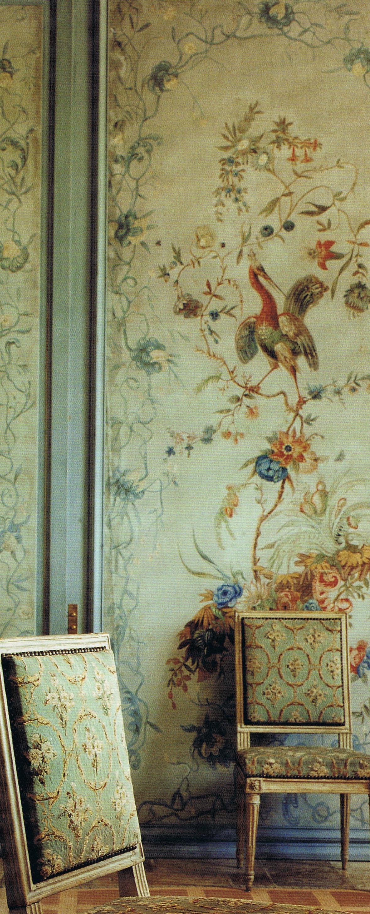 Louis XV canvas panels from Monluc, Paris Louis XVI Chairs