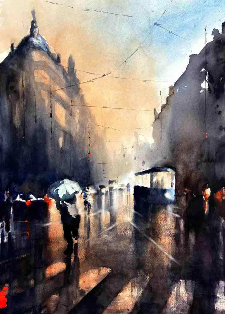 Akvarellmålning urban miljö