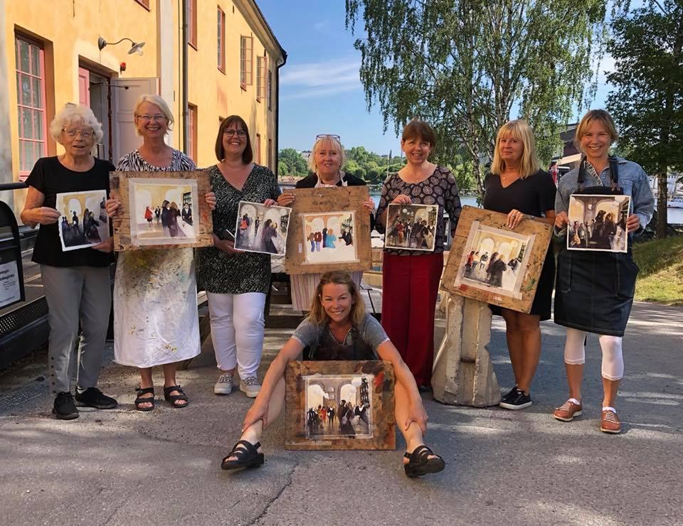 Akvarellmålare på kurs på Skeppsholmens Folkhögskola i Stockholm