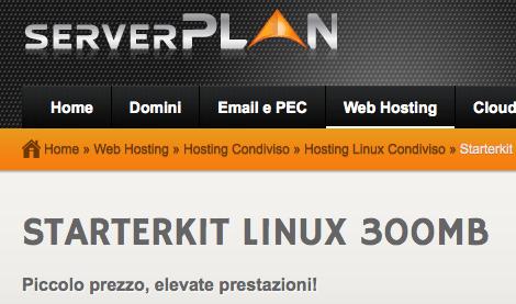 Dettagli offerta: Serverplan StarterKit Linux