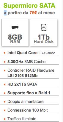 Dettagli offerta: ServerPlan SuperMicro SATA – CPU Intel Quad Core – 8GB RAM / 1 Tb HDD – Setup Gratuito