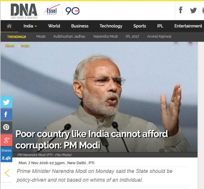 Indian Prime Minister, Narendra Modi called India a poor country in Novemeber, 2016