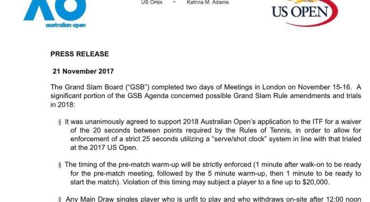Press Release by the Grand Slam Board regarding 2018 rule amendments and trials