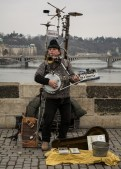 Alexander Zoltan, One Man Band, on the Charles Bridge, Prague Czech Republic