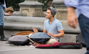 Adam Maalouf playing the hand pans in Washington Square Park, New York U.S.A.