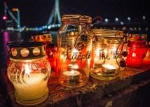 Lāčplēsis Day Candles by the Daugava River, Riga Latvia