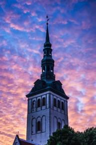 Spire of Niguliste Kirik at sunset, Old Town in Tallinn, Estonia