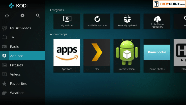 Click Add-ons button on home screen of Kodi