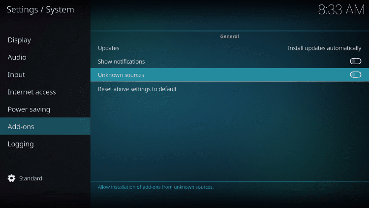 third party kodi addon unknown sources