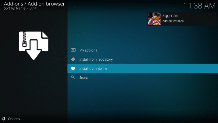 wait for eggman add-on installed message